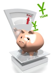 money pig with China Yuan Renminbi on a scale