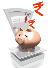 money pig with Pakistan Rupee on a scale