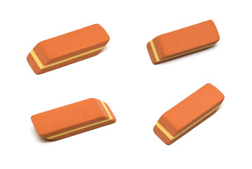 eraser set isolated on white