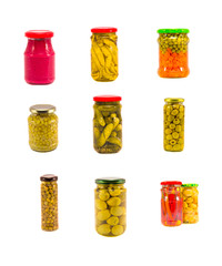 canned vegetables glass pot collection isolated on white