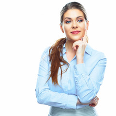 Thinking business woman portrait.