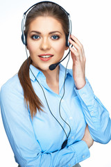 Call center operator consultant talking with microphone