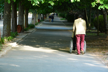 hombre empujando una silla de ruedas por un parque