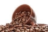 Fototapety Coffee cup and beans on a white background
