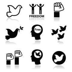 Freedom icons set - dove and fist symbols