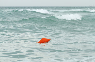 Sea buoy during storm