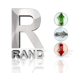 South Africa Rand symbol with trend buttons