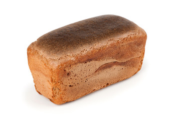 Rye bread on a white background