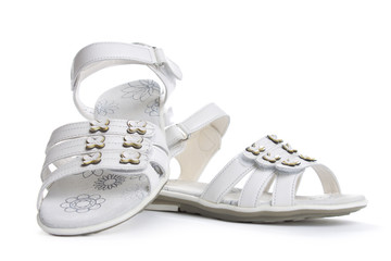 Dressy sandals for girls. Isolate on white.