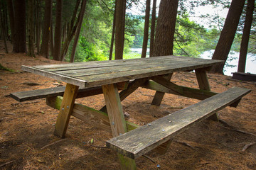 Wood Picnic Table in Campground setting