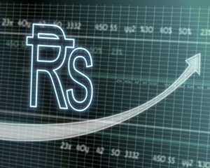 Rupee symbol on stock market graph