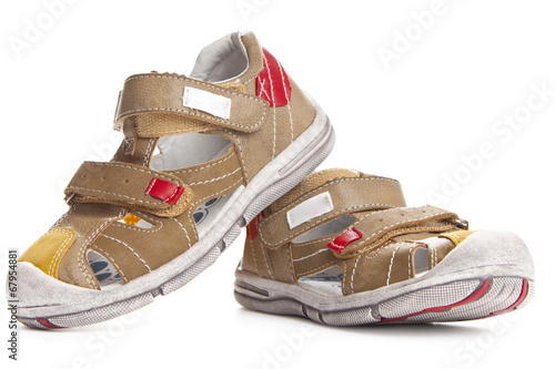 canvas print picture Brown shoes for kids isolated over a white background
