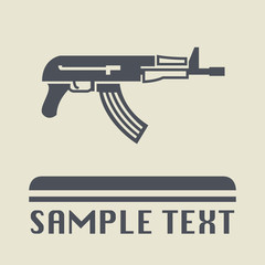 Automatic rifle icon or sign
