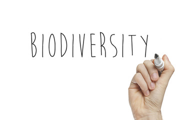 Hand writing biodiversity