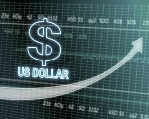 United States Dollar icon on stock market graph