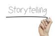 Hand writing storytelling