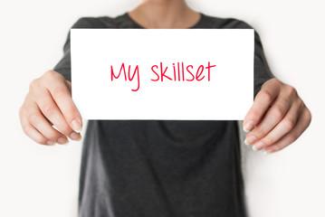 My skillset. female showing card