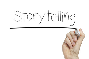 Hand writing storytelling