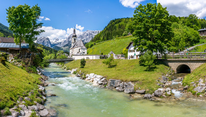 Idyllic mountain landscape in Ramsau, Bavaria, Germany