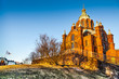 Famous Uspenski Cathedral at sunset, Helsinki, Finland