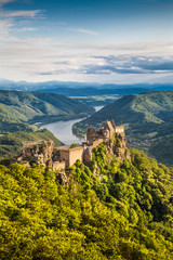 Wachau landscape with Danube river and old castle, Austria