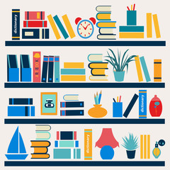 Bookshelf full of books - Illustration