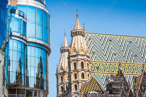 Fotobehang Wenen Haas Haus with St. Stephen's Cathedral in Vienna, Austria