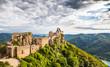 Aggstein castle ruin with Danube river in Wachau, Austria