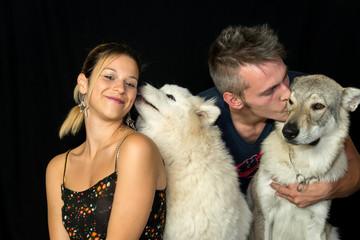 coppia con cani