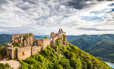 Aggstein castle ruin with Danube river in Wachau, Austria