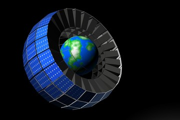 Satelliet om aarde met zonnepanelen
