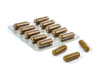 pill capsules on white background