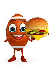 Rubgy ball character with burger