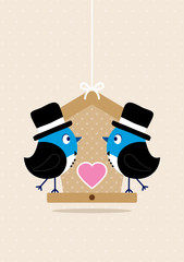 Wedding Birds Gay Men Birdhouse Beige