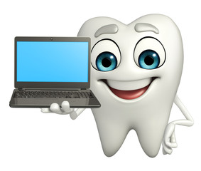 Teeth character with Laptop