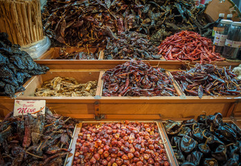 Choice of dried chili in Oaxaca market, Mexico