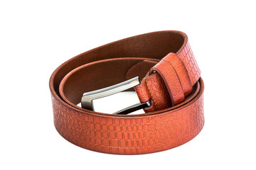 brown leather belt on white background