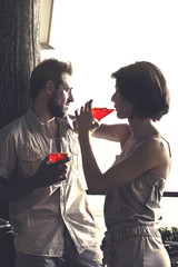 couple having spritz time in a terrace