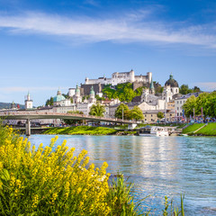 Old town of Salzburg with river Salzach in spring, Austria