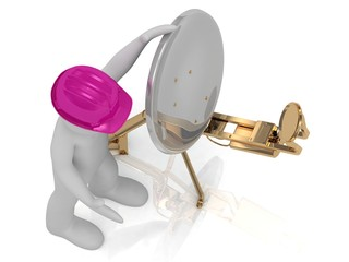 3d man in an lilac helmet adjusts the satellite dish