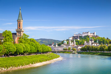 Salzburg skyline with Salzach river in spring, Austria