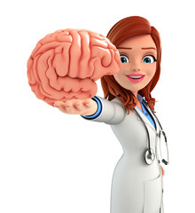 Young Doctor with brain anatomy