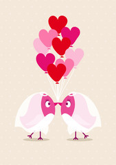 Wedding Birds Gay Women Heartballoons Beige
