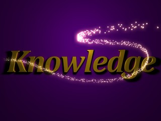 Knowledge - 3d inscription with luminous line with spark