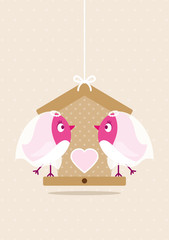 Wedding Birds Gay Women Birdhouse Beige