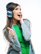 Young motion woman with headphones listening music .Music teena