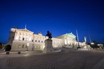 Austrian Parliament Building at night