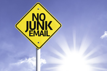 No Junk Email road sign with sun background