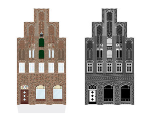Medieval Gothic Townhouse Vector Illustration