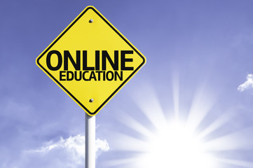 Online Education road sign with sun background